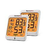 ThermoPro TP53 digitales Thermo Hygrometer Innen Raum Thermometer Temperatur und Luftfeuchtigkeitmessgerät für Raumklimakontrolle, 2er Set
