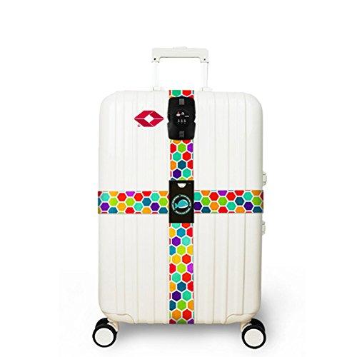 Travel Luggage Strap, Yigo Cross Design Suitcase Packing Belts with TSA Password Lock Clip (Colorful Dot)