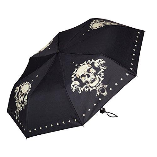 VON LILIENFELD Regenschirm Taschenschirm Stabil Leicht Auf-Automatik Damen Herren Kunst Motiv Skull Totenkopf Schädel
