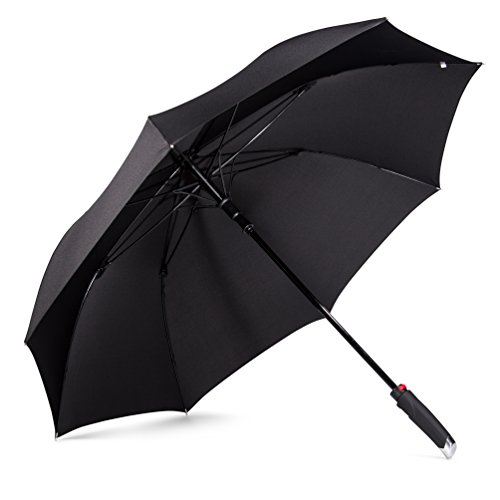 LifeTek New Yorker Large Golf Umbrella 54 Inch Automatic Open Full Size Extra Big Stick Umbrellas Windproof Strong Folding Oversize Teflon All Weather Rain Umbrella Sturdy Sports Men Women Black FX1