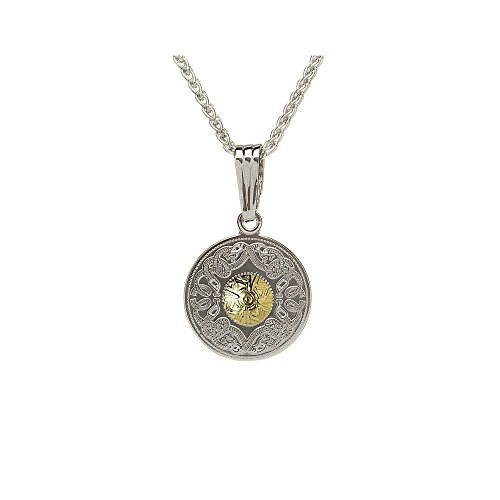 Biddy Murphy Sterling Silver Warrior Pendant 18K Gold Plated Bead 18 Inches Chain Made in Ireland
