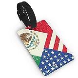 Etiquetas de equipaje de la bandera de México de Estados Unidos para equipaje de viaje, etiquetas de identificación de equipaje (2.2 x 3.7 pulgadas), 2 piezas