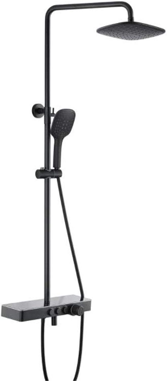 Duschset 3-Funktions-Duschset mit schwarzem Duschsystem, Messinggehuse, 9-Zoll-Regenduschkopf aus Edelstahl und 1,5 m Brauseschlauch, ABS-Handbrause Einstellbare Duschkombination