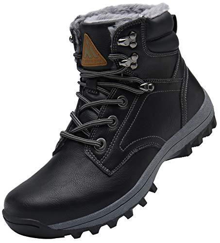 Mishansha Hombre Mujer Botas de Nieve Invierno Botines Senderismo Impermeables Deporte Trekking Zapatos Fur Forro Aire Libre Boots,Wander Negro 40 EU