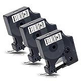 3x Labelwell 12mm x7m Compatible Cintas de Etiqueta Reemplazo para DYMO D1 45010 S0720500 Negro sobre Transparent para Dymo LabelManager 160 280 260P 360D 420P 500TS LabelWriter 450 DUO LabelPoint 150