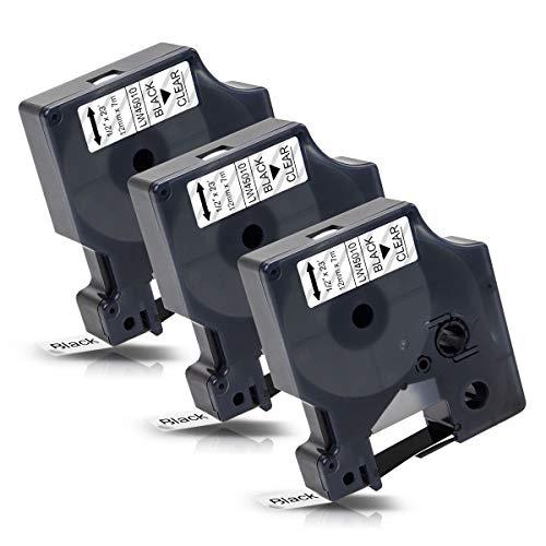 3x Labelwell 12mm x7m Compatible Cintas de Etiqueta Reemplazo para DYMO D1 45010 S0720500 Negro sobre Transparent para Dymo LabelManager 160 280 260P 360D 420P 500TS LabelWriter 450 DUO LabelPoint 150 ✅