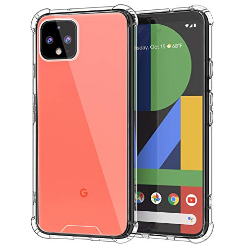 MoKo Compatible with Google Pixel 4 Case, Crystal Clear Reinforced Corners TPU Bumper + Anti-Yellow Anti-Scratch Transparent Hard Panel Cover for Google Pixel 4 5.7 inch 2019 - Crystal