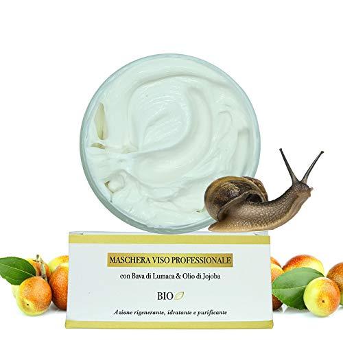 Maschera Viso Idratante Purificante BIO - Maschera Lenitiva da 100ml. con Bava di Lumaca & Olio di Jojoba - Maschera Nutriente Antirughe Dermatologicamente Testata Made in Italy