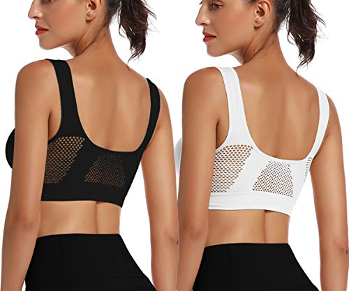SANMIO Damen Sport BH, Bequemer Bustier Breathable Ohne Bügel Push Up Bra für Sport Yoga