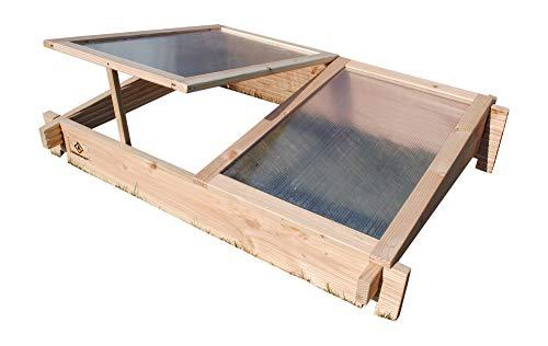 GrünerGarten Hochbeet GRÖN - Premiumqualität, Bio Douglasie Blockbohlen, sehr robust, sehr einfacher Aufbau ohne Werkzeug, völlig schadstofffrei (Frühbeetaufsatz)