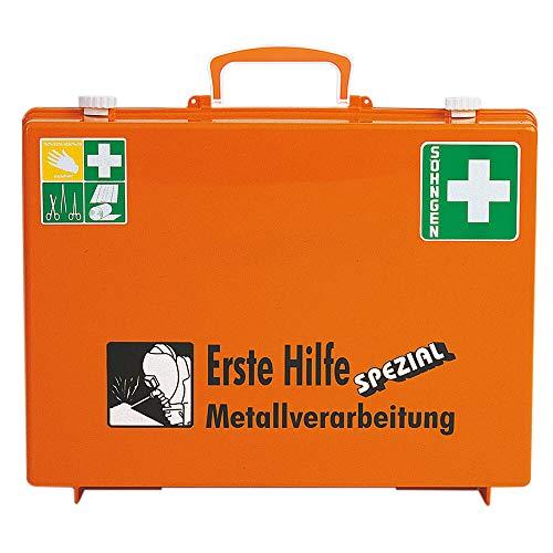 SÖHNGEN 0360108 Erste-Hilfe-Koffer Spezial Metallverarbeitung, Verbandskoffer mit Wandhalterung, orange, DIN 13157 aus Kunststoff, mit PRÜFPLAKETTE