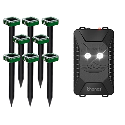 Thanos Pack of 8 Solar Mole and Groundhog Repellent Sonic Gopher Repeller Spikes, and 1 Pack Battery Operated Rodent Rat Repellent for Cars and Anywhere