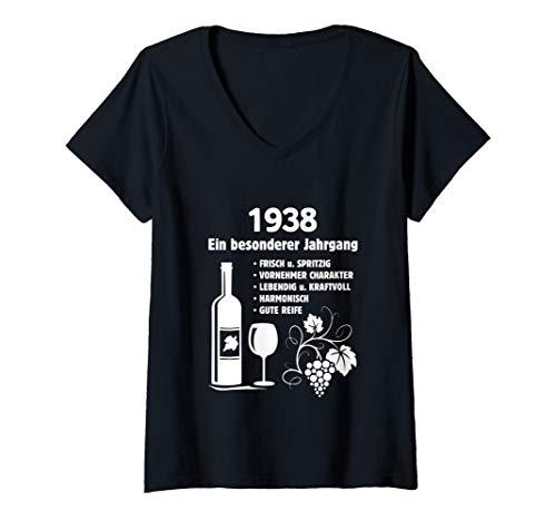 Damen Geburtstag Geschenk Wein Vintage - Besonderer Jahrgang 1938 T-Shirt mit V-Ausschnitt