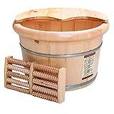 Lavabo de pie de madera, bañera de pie de madera maciza, tazón de pedicura, spa, masaje, cedro, pedicura, barriles, salón de hogar, baño de pies, barril, con masajeador ABBD-lid