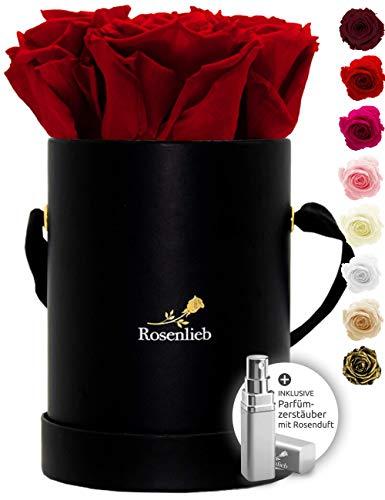 Rosenlieb Rosenbox Schwarz mit 4 Infinity Rosen (3 Jahre haltbar) | Handgefertigte Flowerbox aus Deutschland inkl. Grußkarte | Echte Blumen | Geschenk-Ideen für Sie Frau Freundin Valentinstag (Rot)
