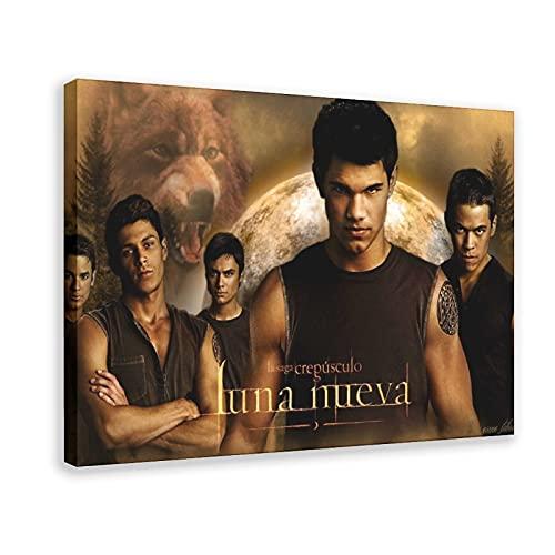 PLGG Póster de la Saga Crepúsculo Luna Nueva Jacob's Wolf Pack de póster en lienzo para decoración de sala de estar, dormitorio, 30 x 45 cm. Marco: