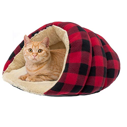 KOOLTAIL Cuddle Cave Bed for Indoor Cats & Small Dogs, Cat Calming Bed Cozy Covered Sleeping House for Puppies, Kittens
