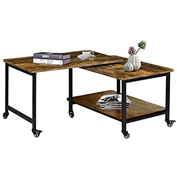 Kamiler Industrial Coffee Table with Storage Shelves 360° Free Rotating Sofa Side Table for Living Room/Office Wood Rustic Furniture with Sturdy Metal Frame Casters Included