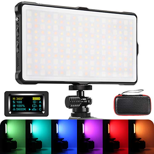 RGB Camera/Camcorder Video Light, Pixel Built-in 4040mAh Battery LED Light 360° Full Color 9 Lighting Efficiency, 3200-5600K Pocket Size Light with Aluminum Alloy Shell