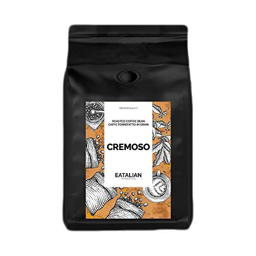 EATALIAN by AMZ BETTER Cremig geröstete Kaffeebohnen 1 kg, 80% Arabica 20% Robuste Mischung, Voller Geschmack mit Schokolade und Gerösteten Mandeln Nachgeschmack, Made in Italy (verpackt in Italien)