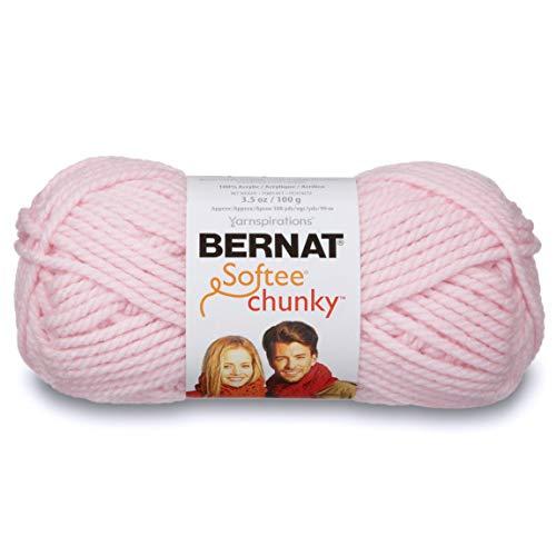 Bernat Softee Chunky Yarn, 3.5 Oz, Gauge 6 Super Bulky, Baby Pink