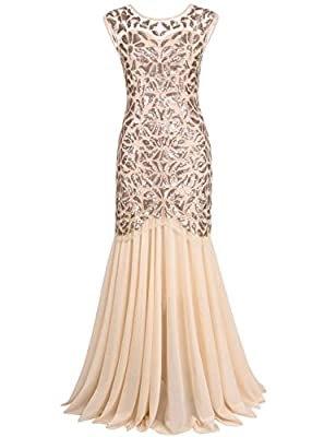 PrettyGuide Women 's 1920s Sequin Gatsby Flapper Formal Evening Prom Dress M Champagne