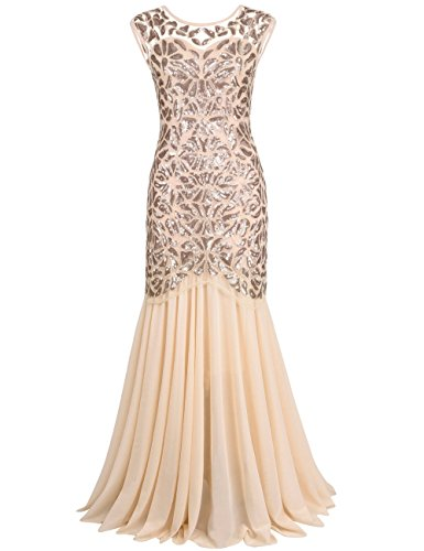 PrettyGuide Women 's 1920s Art Deco Sequin Gatsby Formal Evening Prom Dress L Champagne