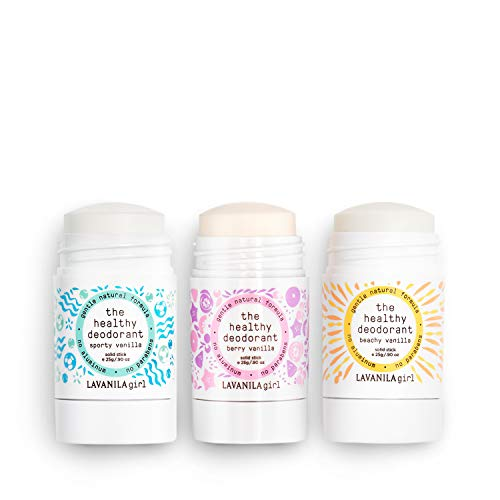 Lavanila Girl Set - The Healthy Deodorant Trio. Aluminum-Free, Vegan, Clean, and Natural - Sporty Vanilla .90 oz, Beachy Vanilla .90 oz, Berry Vanilla .90 oz