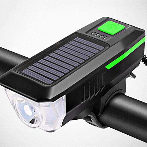 CHENJC Bicycle Light Headlight USB Rechargeable Glare Flashlight with Horn, Riding Equipment, Bicycle Light, Night Riding Accessory Light, Mountain Bike Light Easy to Install Fits All Bikes,Green