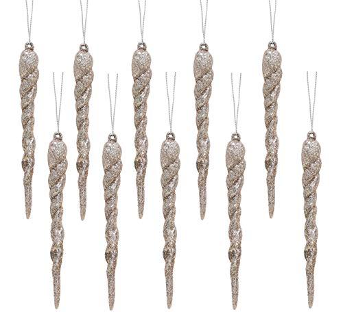 Christmas Concepts Decorazioni ghiacciolo Glitterate 12 cm - Guarnizioni per Alberi di Natale di Lusso (Champagne, Confezione da 10)