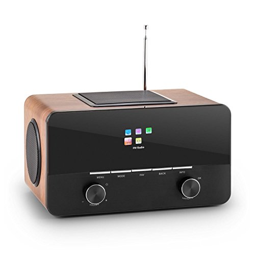 auna Connect 150 Design WLAN Radio Internet-Radio WiFi Radiowecker im Aluminium-Holz-Design (USB, LAN, Dab/DAB+, UKW, RDS, 2 Weckzeiten, Sleep-Timer, Fernbedienung, AUX) schwarz-braun