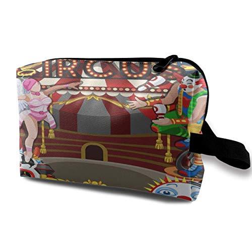 DJNGN Bolsas de maquillaje para mujeres, bolsa de maquillaje de viaje, pequeña bolsa de cosméticos Artista Circo Carnaval Carpa Marquesina Diversión Parque familiar Payaso