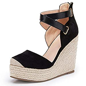 PiePieBuy Womens Wedge Espadrille Ankle Strap Closed Cap Toe Platform Heeled Sandals