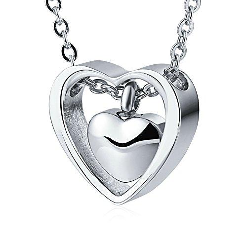Beydodo Urne Anhänger Kette Edelstahl Doppelte Herzen Silber Halskette Ascheschmuck für Gedenk Asche Andenken