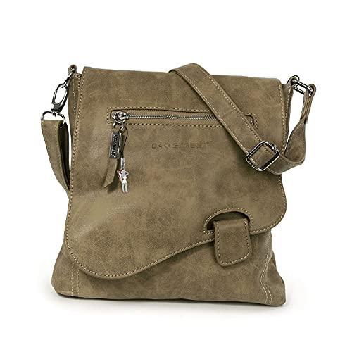 Bag Street - Bolso de hombro con presilla, aspecto desgastado, marrón (Marrón) - 3421