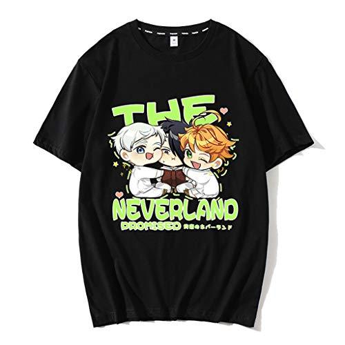 Nova camiseta preta The Promised Neverland Emma Norman Ray masculina e feminina de algodão anime camisetas camisetas pulôver, 08 - Preto, S