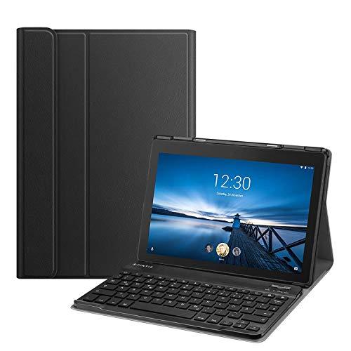 Fintie Tastatur Hülle Kompatibel für Lenovo Tab E10 10,1 Zoll Tablet 2019 - Ultradünn Ständer Schutzhülle mit magnetisch abnehmbar drahtloser Deutscher QWERTZ Bluetooth Tastatur für TB-X104F, Schwarz