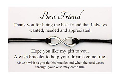 Best Friend B Handmade Infinity Charm Friendship Wish Bracelet,Organza Gift bag(Black)