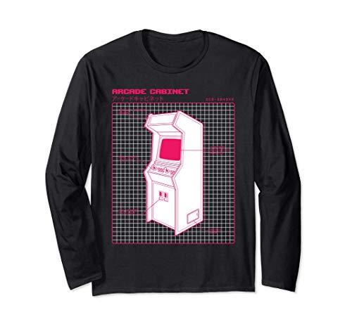 Japanese 80s 90s Style Vaporwave Arcade Cabinet Machine Long Sleeve T-Shirt
