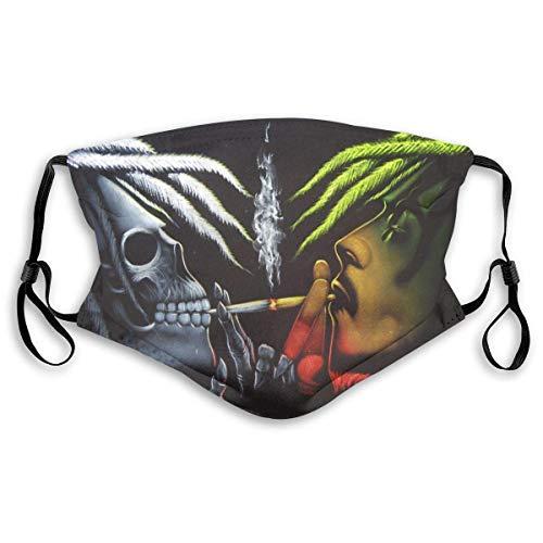 Rasta Skull Dust Mond-moffel met filter, ademend, stofdichte gezichtsbedekking, oorhangers voor de gezondheid