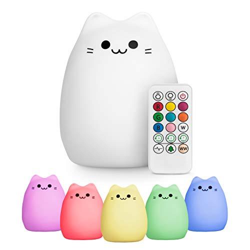 Silikon Nachtlicht Katze für Baby mit Fernbedienung - Stilllicht Dimmbar - Nachtlicht Kind USB - Wiederaufladbare Baby Einschlafhilfe