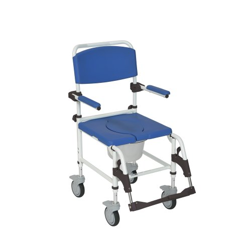 Drive Medical Aluminum Shower Commode Mobile Chair, Blue