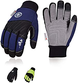 Vgo 3Pairs 32℉ or above 3M Thinsulate C40 Lined Winter Synthetic Leather Waterproof Work Gloves (Size XL,3Colors,SL1015FW)