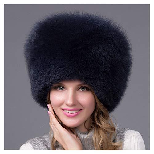 CHUDAN Damen Russland Uschanka Mütze Fox Strick Mütze, Mode Flaumige Kaschmir Winter Hut, Elasticity Lässige Handgestrickt Fliegermütze Winter Ohr Warme Mütze,Blau