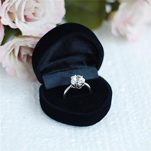 ROSENICE Schöne herzförmige samt Schmuck Ring Ohrring Geschenk Storage Box Etui (schwarz)