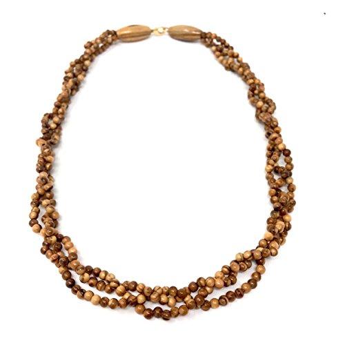bagusto Halskette mit Perlen aus echten Olivenholz geflochtene Stränge Natur handgemacht auf Mallorca Holzschmuck Schmuck Olivenholzschmuck