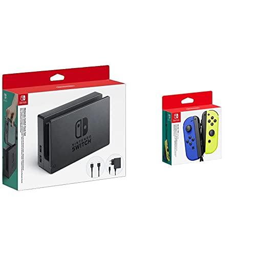 Nintendo Dock Set Con Base Switch, Adaptador De Corriente Y Cable HDMI (Switch) + Joy-Con (set Izda/Dcha) Azul/Amarillo Neón