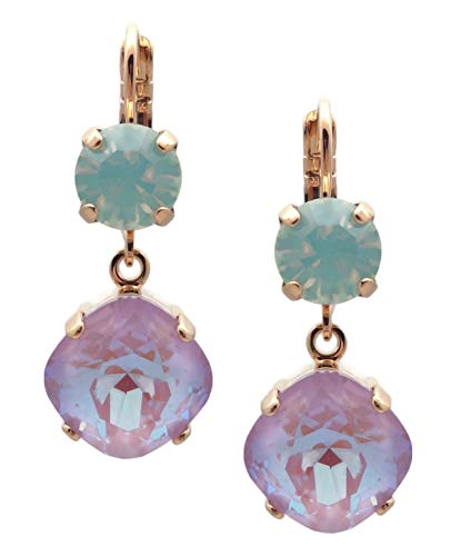 Mariana Lavender Swarovski Crystal Goldtone Earrings Cushion Cut Violet Opalescent with Pale Green 1910