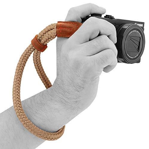 MegaGear Baumwollkamera Handgelenkschlaufe Komfortpolsterung, Sicherheit für alle Kamera |Klein 23cm/9inc| (Braun)