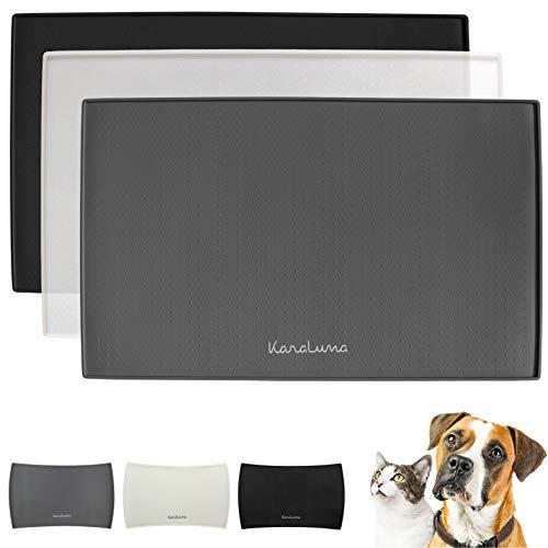 Napfunterlage aus Silikon 48x30cm (Grau, Eckig) I Für Katze & Hund I rutschfeste Futtermatte